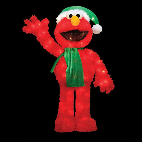 """32"""" Pre-Lit Soft Faux Fur Sesame Street Elmo"""