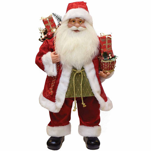 "24"" Modern Santa Claus Figurine with Presents & Drum"