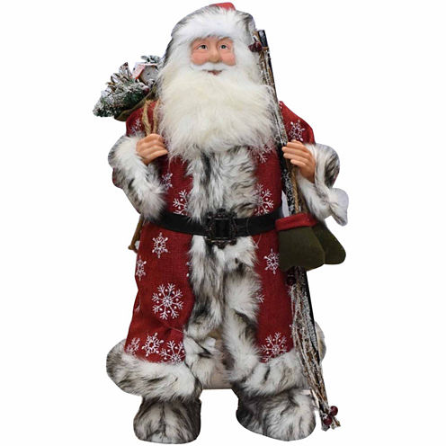 "24"" Snowflake Santa Claus Figurine with Mittens & Staff"