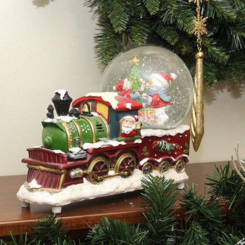 """9.5"""" Santa Claus Train with Snowman Scene Glitterdome"""