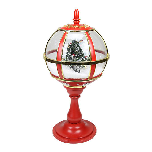 "23.5"" Lighted Red & Gold Musical Snowing Tree"