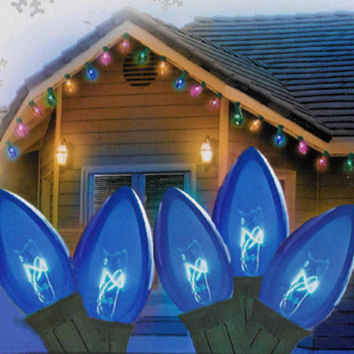 """Set Of 25 Transparent Blue C9 Christmas Lights 12""""Spacing with Green Wire"""""""