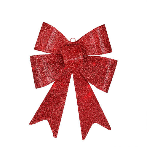 "17"" LED Lighted Battery Operated Vibrant Red Bow Decoration"