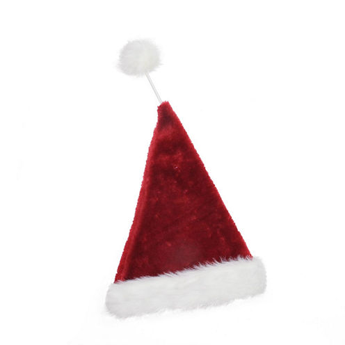 "21"" Whimsical Extra Soft Tethered Pom Pom Santa Claus Hat"