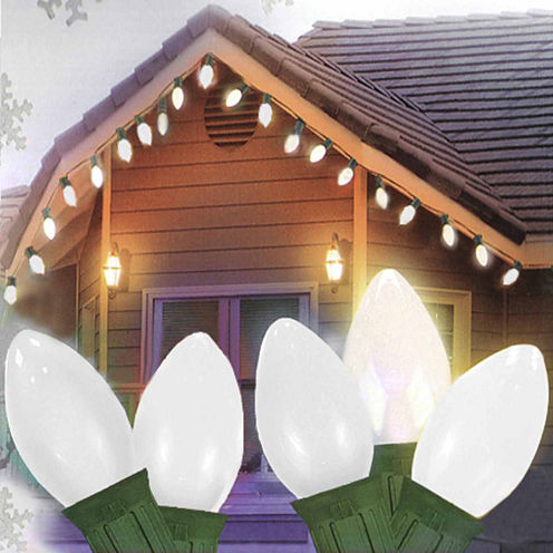 Set Of 25 Opaque Clear White C9 Christmas Lights with Green Wire
