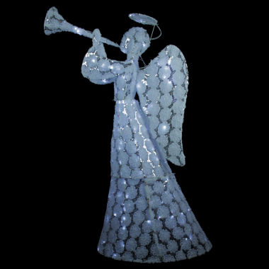 "jcpenney.com | 56"" Floral Printed Angel With Sequins Holding Trumpet LED Lighted Yard Art"""
