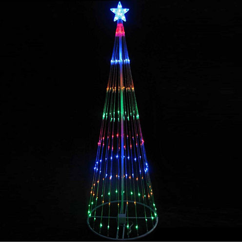 12' Multi-Color LED Lighted Show Cone Christmas Tree Yard Art