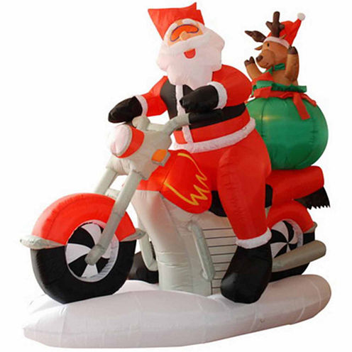6.5' Inflatable Santa Claus On Motorcycle LightedYard Art
