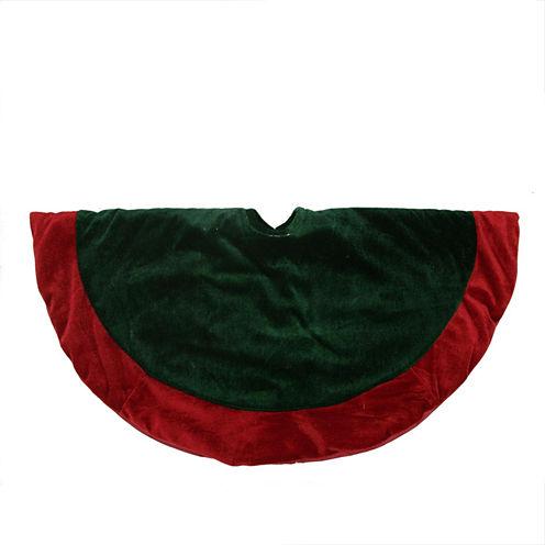 """26"""" Traditional Green & Red Velveteen Christmas Tree Skirt"""""""