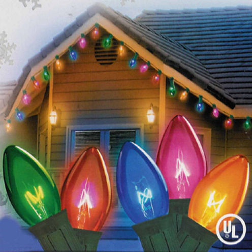 Set Of 25 Transparent Multi-Color C9 Christmas Lights with Green Wire