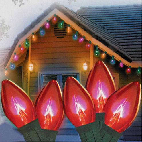 "Set Of 25 Transparent Red C9 Christmas Lights 12""Spacing with Green Wire"""