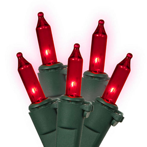 """Set Of 100 Red Commercial Grade Mini Christmas Lights 5.5"""" Spacing with Green Wire"""