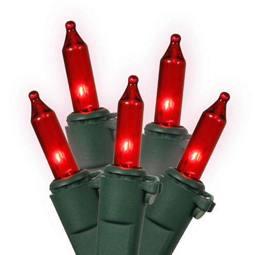 "Set Of 100 Red Mini Christmas Lights 4"" Bulb Spacing 22 AWG with Green Wire"