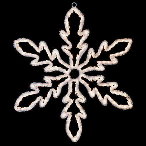 "24"" Lighted White Hanging Snowflake Christmas Decoration with Clear Lights"""