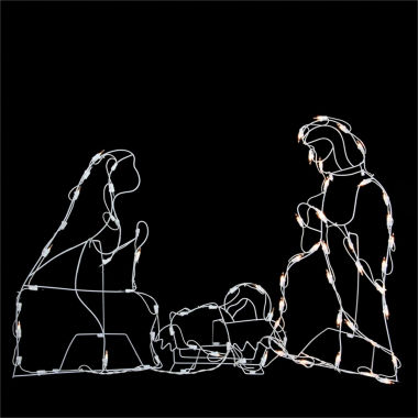 "jcpenney.com | 25.5"" Pre-Lit White Holy Family Nativity Scene Yard Art"""