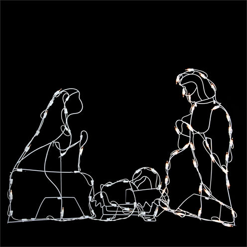 "25.5"" Pre-Lit White Holy Family Nativity Scene Yard Art"""