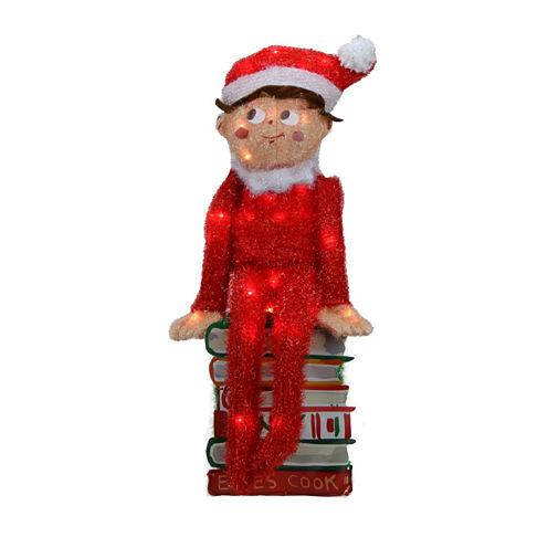 "24"" Pre-Lit Elf On The Shelf 3-D Sitting Elf On Books Yard Art with Clear Lights"""