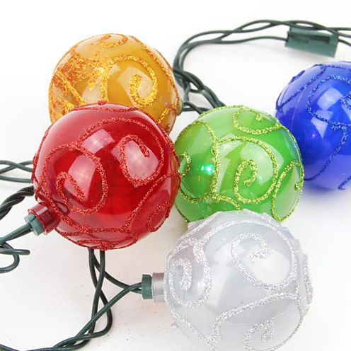 Set Of 10 Multi-Color Glitter Swirled Ball Globe Patio Christmas Lights with Green Wire