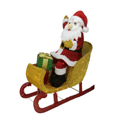 "jcpenney.com | 29.5"" Lighted Tinsel Santa Claus In Sleigh Yard Art"""