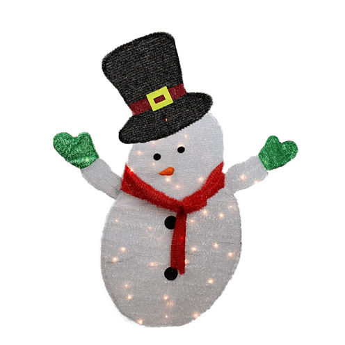 4' Lighted Winter Snowman with Top Hat Outdoor Yard Art with Clear Lights