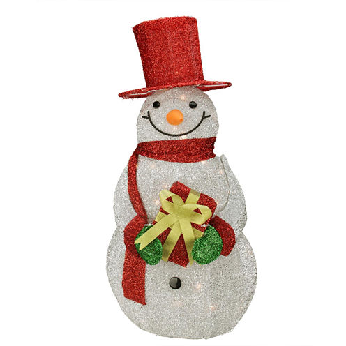 "32"" Lighted Silver Tinsel Snowman with Gift Yard Art"""