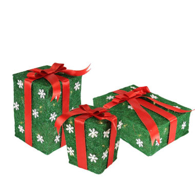 jcpenney.com | Set Of 3 Green Snowflake Sisal Gift Boxes LightedYard Arts