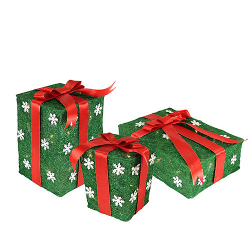 Set Of 3 Green Snowflake Sisal Gift Boxes LightedYard Arts