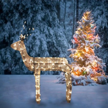 "jcpenney.com | 48"" 3-D Glitter Animated Sitting Buck Reindeer Lighted Yard Art with Clear Lights"""