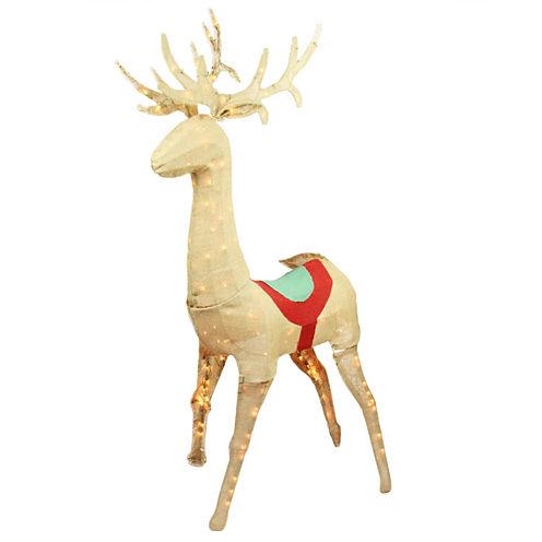 """60"""" Pre-Lit Rustic Burlap Sitting Reindeer Yard Art"""""""