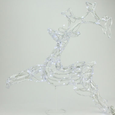 "jcpenney.com | 33"" LED Lighted Running Buck Deer Spun Glass YardArt with Polar White Lights"""