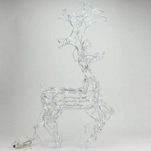 "34"" LED Lighted Sitting Buck Deer Spun Glass YardArt with Polar White Lights"""