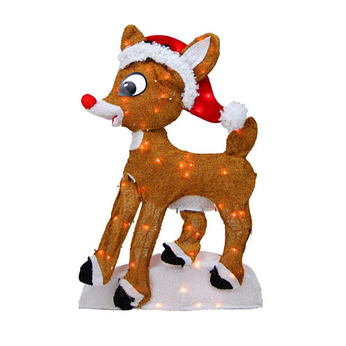 """24"""" Pre-Lit 2-D Rudolph The Red-Nosed Reindeer Yard Art with Clear Lights"""""""