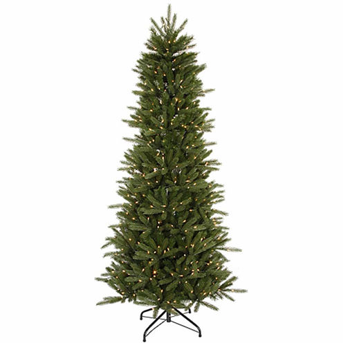 12' Pre-Lit Slim Vermont Fir Instant Shape Artificial Christmas Tree - Clear