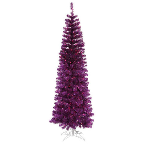 10' Pre-Lit Purple Artificial Pencil Tinsel Christmas Tree - Purple Lights