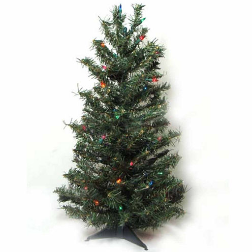 3' Pre-Lit Canadian Pine Artificial Christmas Treewith Multi Lights