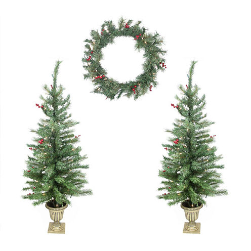 Set Of 4 Red Berry Pine Artificial Christmas TreesAnd Wreath with Clear Lights