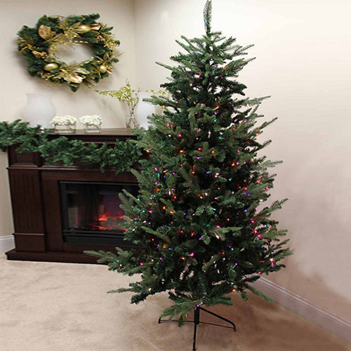 7' Pre-Lit Grantwood Pine Artificial Christmas Tree with Multi-Color Lights