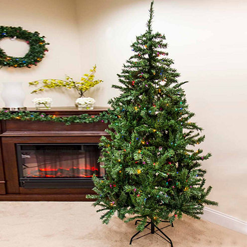 7.5' Pre-Lit Traditional Mixed Pine Artificial Christmas Tree with Multi-Color Lights