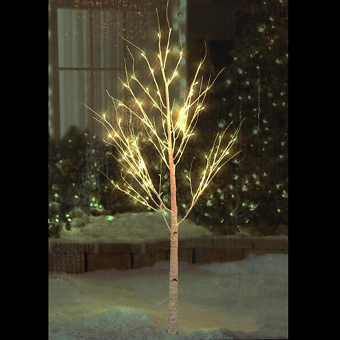 6' Pre-Lit White Christmas Twig Tree Outdoor YardArt Decoration with Warm White LED Lights