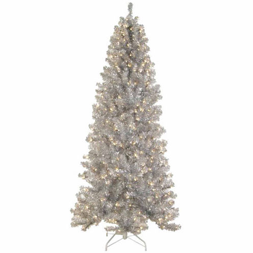 6.5' Pre-lit Silver Tinsel Noble Pine Artificial Christmas Tree with Clear Lights
