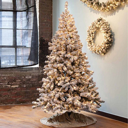 6.5' Pre-Lit Snowy Pine Flocked Medium ArtificialChristmas Tree with Clear Lights