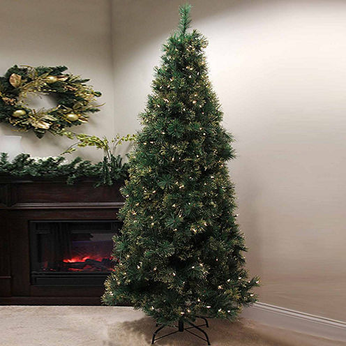 7.5' Pre-Lit Slim Tattinger Long Needle Pine Artificial Christmas Tree with Clear