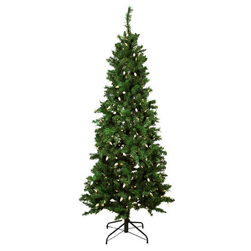 7' Pre-Lit Single Plug Slim Mixed Long Needle PineArtificial Christmas Tree with Multi-Function LEDLights