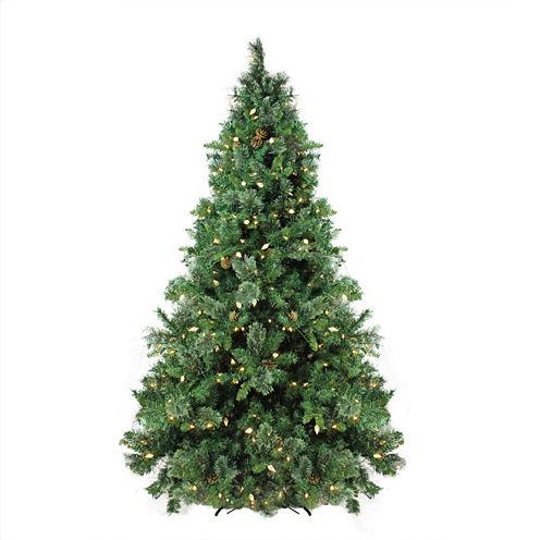 7.5' Pre-Lit Single Plug Mixed Cashmere Pine SelfShape Artificial Christmas Tree with Warm White LED Lights