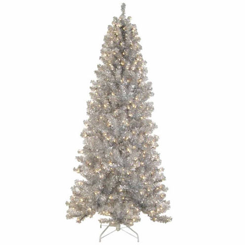 9' Pre-Lit Silver Tinsel Noble Pine Artificial Christmas Tree with Clear Lights