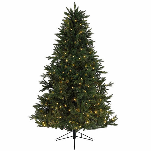 """9' x 72"""" Pre-Lit Everlands Skandia Fir ArtificialChristmas Tree with Warm Clear LED Lights"""""""
