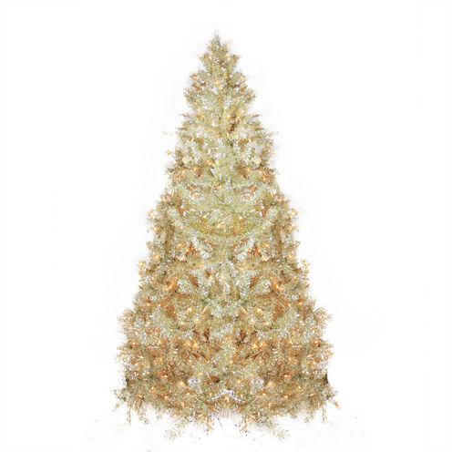 9' Pre-Lit Sparkling Champagne Full Artificial Tinsel Christmas Tree with Clear Lights