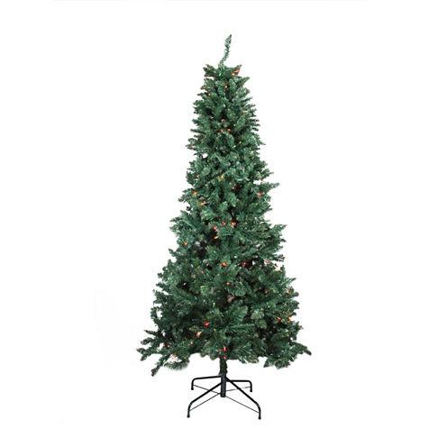 9' Pre-lit Slim Pine Artificial Christmas Tree with Multi-Color Lights