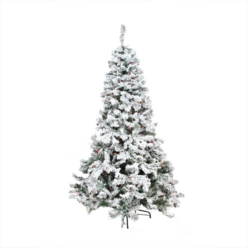 9' Pre-Lit Heavily Flocked Pine Medium ArtificialChristmas Tree with Multi-Color Lights