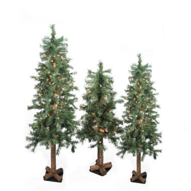 jcpenney.com | Set of 3 Pre-Lit Woodland Alpine Artificial Christmas Trees 4' 5 and 6'' with Clear